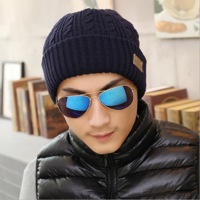 4adb7a0bea5 Men s Winter Warm Wool Visor Brim Crochet Beanie Hat Beret Skull Ski ...