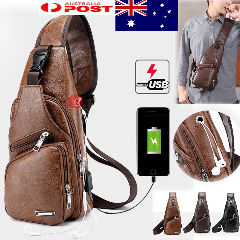 e8923f580e Details about Men s Leather Sling Chest Bag Travel Shoulder Bag Crossbody  Bag Backpack New