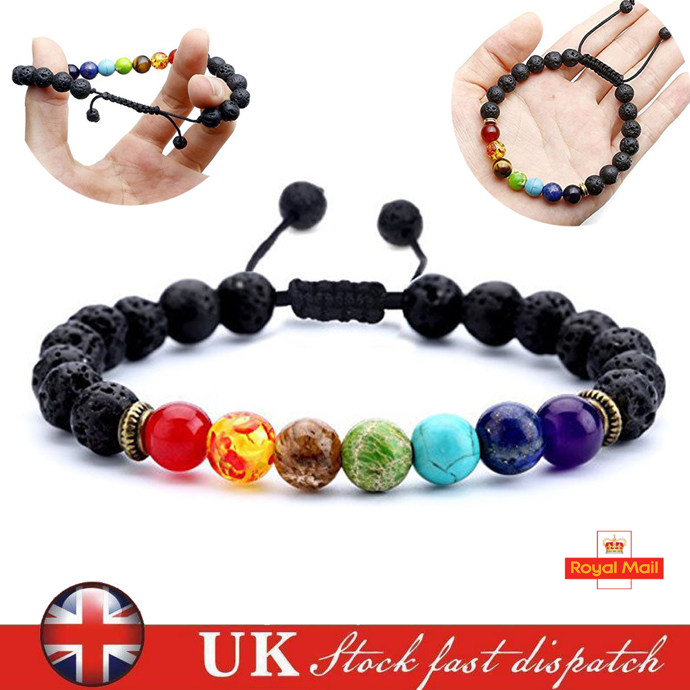 Details about 7 Chakra Christal Stones Bracelet Healing Beads. Jewellery  Natural Reiki Gift UK 1cbc4739f6a8