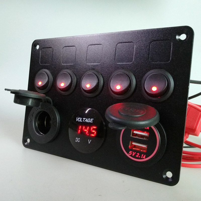 Inline fuse box led red gang rocker switch panel usb