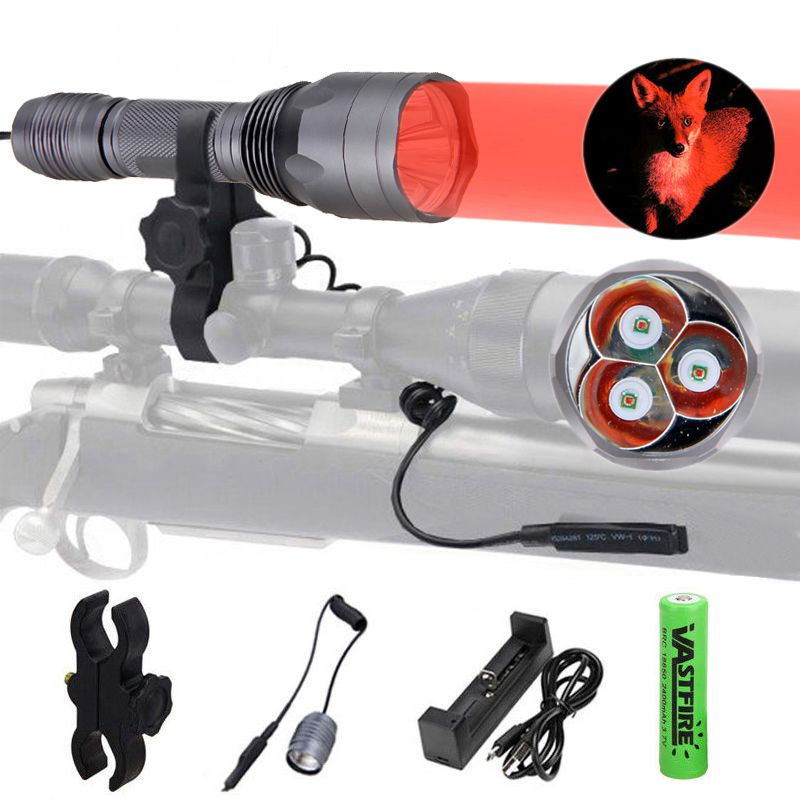 10000Lm 3x XPE Q5 Green Red LED Tactical 250yard Hunt Flashlight Torch Light