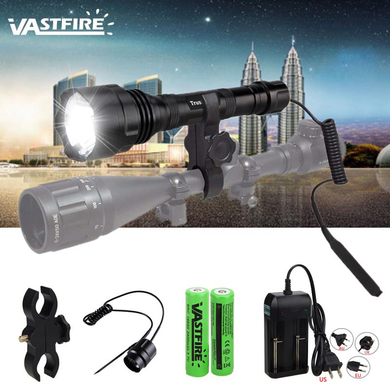 Tactical 5000Lm Green Light LED Flashlight Torch Lamp Rifle Hunting Gun Mount