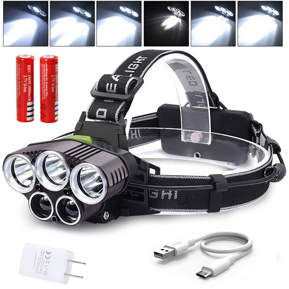 90000LM Brightness T6 LED Rechargeable Head Torch Hiking Headlamp Emergency Lamp