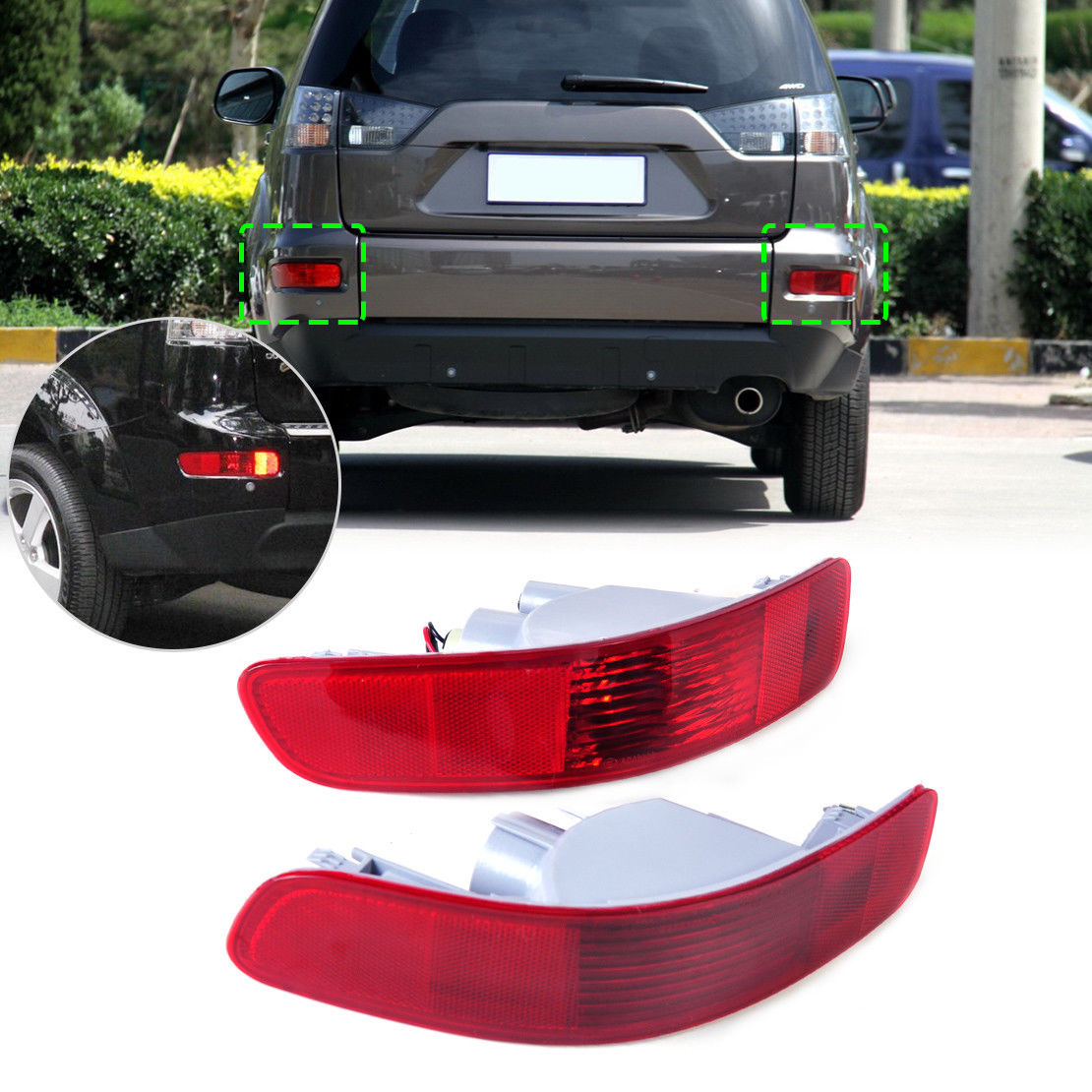 1PC Right Rear RED Tail Light Bumper Side Marker Reflector Housing Compatible with 2007-2012 Mitsubishi Outlander Peugeot 4007 Citro/ën C-Crosser