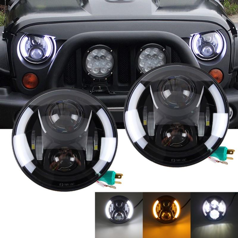 4 Pairs 7 Inch Round LED Headlights Halo Angel Eyes For Jeep 97-2017 Wrangler UK