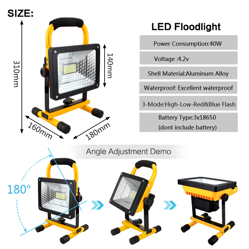 50W Portable Rechargeable Work Light LED Flood Spot Outdoor Yard Lamp 3x18650