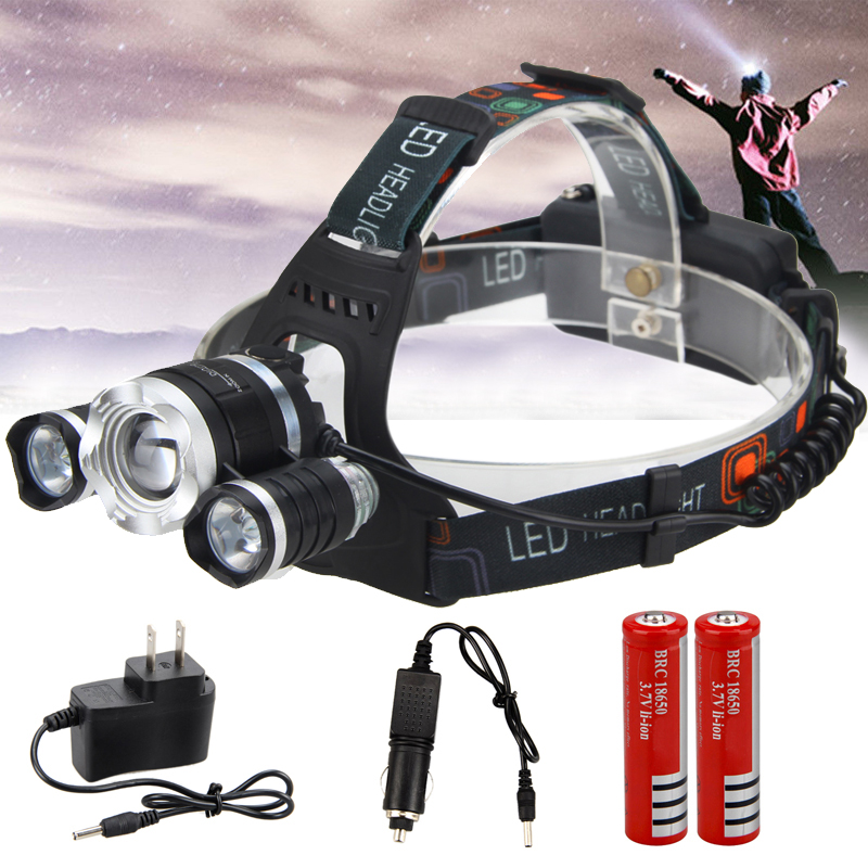 Zoomable  T6 LED Head Torch Headlamp Headlight Head Torch 18650 AO Charger
