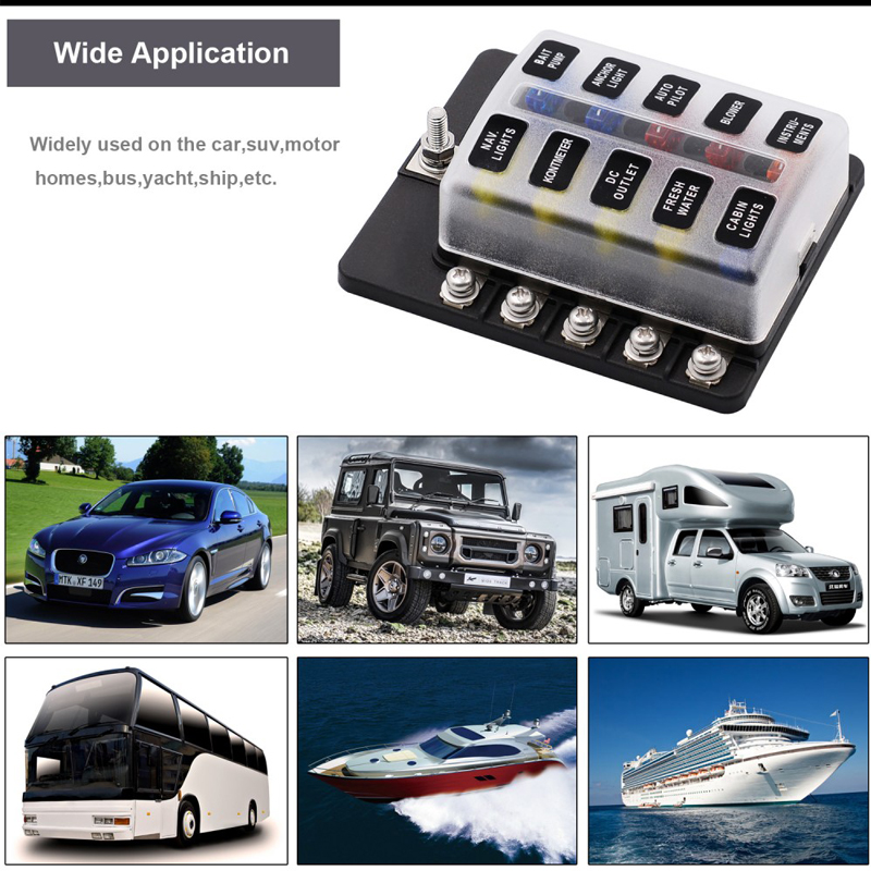 cb610423 602c 4639 aa88 3e576e2f3a60 10 way car van boat circuit standard blade fuse box block holder