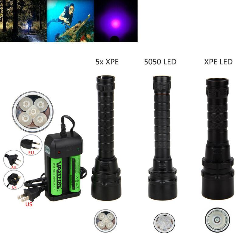 Underwater 100m 395nm 5x XPE UV LED Scuba Waterproof Flashlight Torch 18650 Lamp