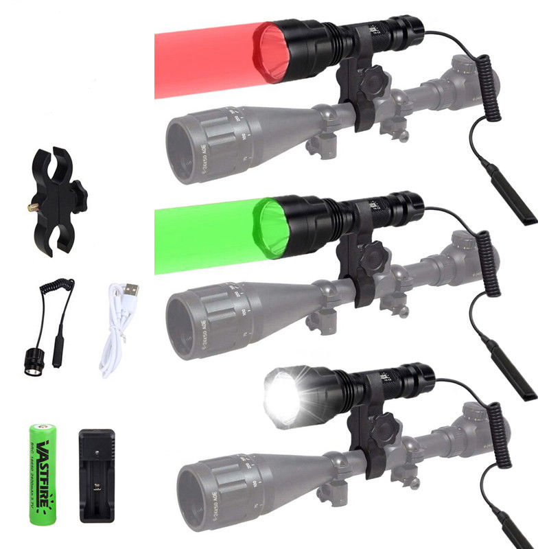 Zoom Red //Green//IR LED 300Yard Predator Hunting Flashlight Light Varmint Hog Pig