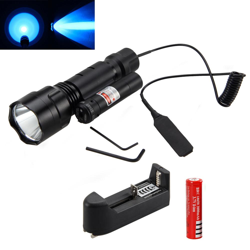 Tactical 5000Lm XML T6 Blue Light LED Hunting Flashlight Gun Mount Light 18650