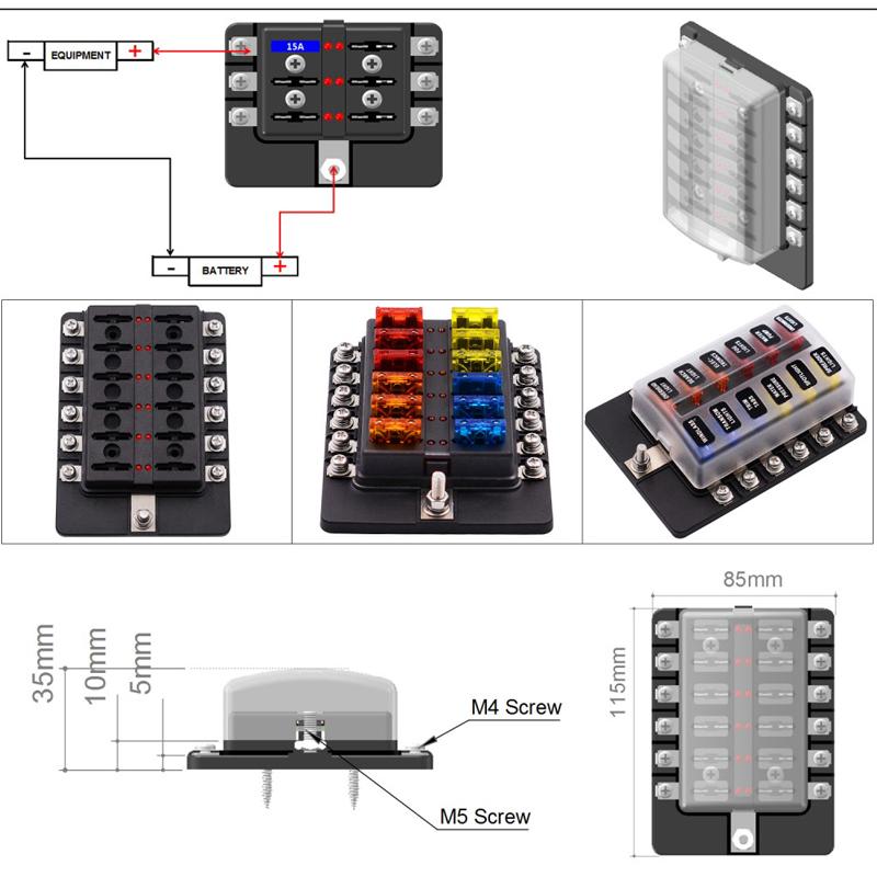 12way 12v 24v blade fuse box holder led warning lights kit. Black Bedroom Furniture Sets. Home Design Ideas