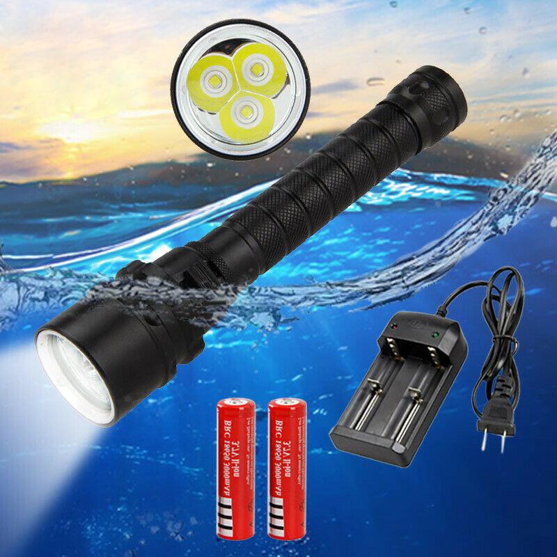 100m Underwater 12000LM 3x XM-L L2 LED 18650 Scuba Diving Flashlight Lamp Torch