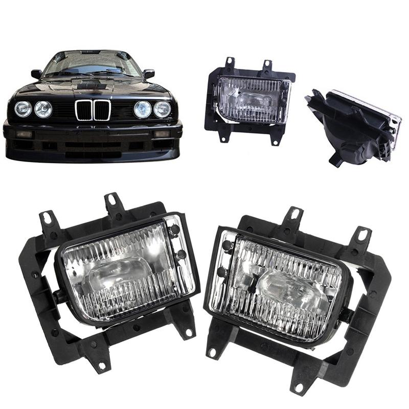For 85-93 BMW E30 3-Series Front Bumper Clear OE Fog Lights Plastic Lens Kit B00