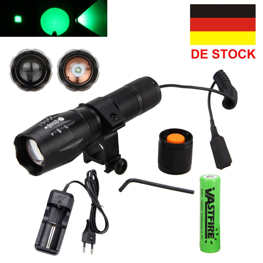 Zoomable 3 in 1 Rot Grün Blau Licht-LED Predator Jagd Taschenlampe Lamp Akku