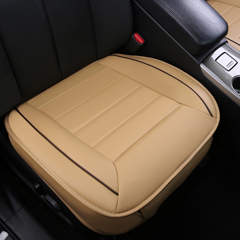 Pu Leather Charcoal Car Seat Cushion Full Surround Cover Mat Protective Beige