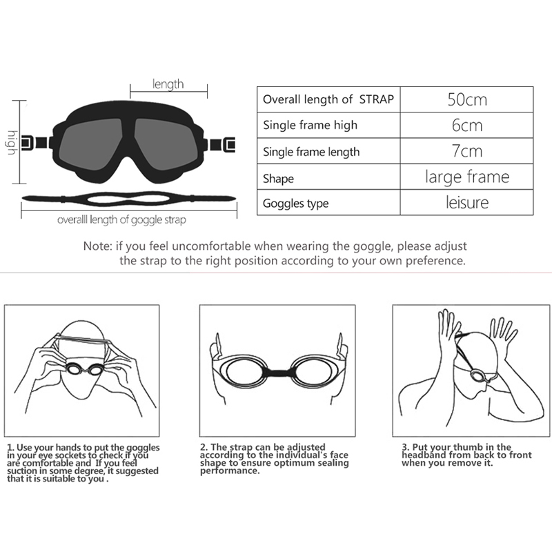 Swimming Goggles Comfortable Silicone Large Frame Swim Glasses Anti ...