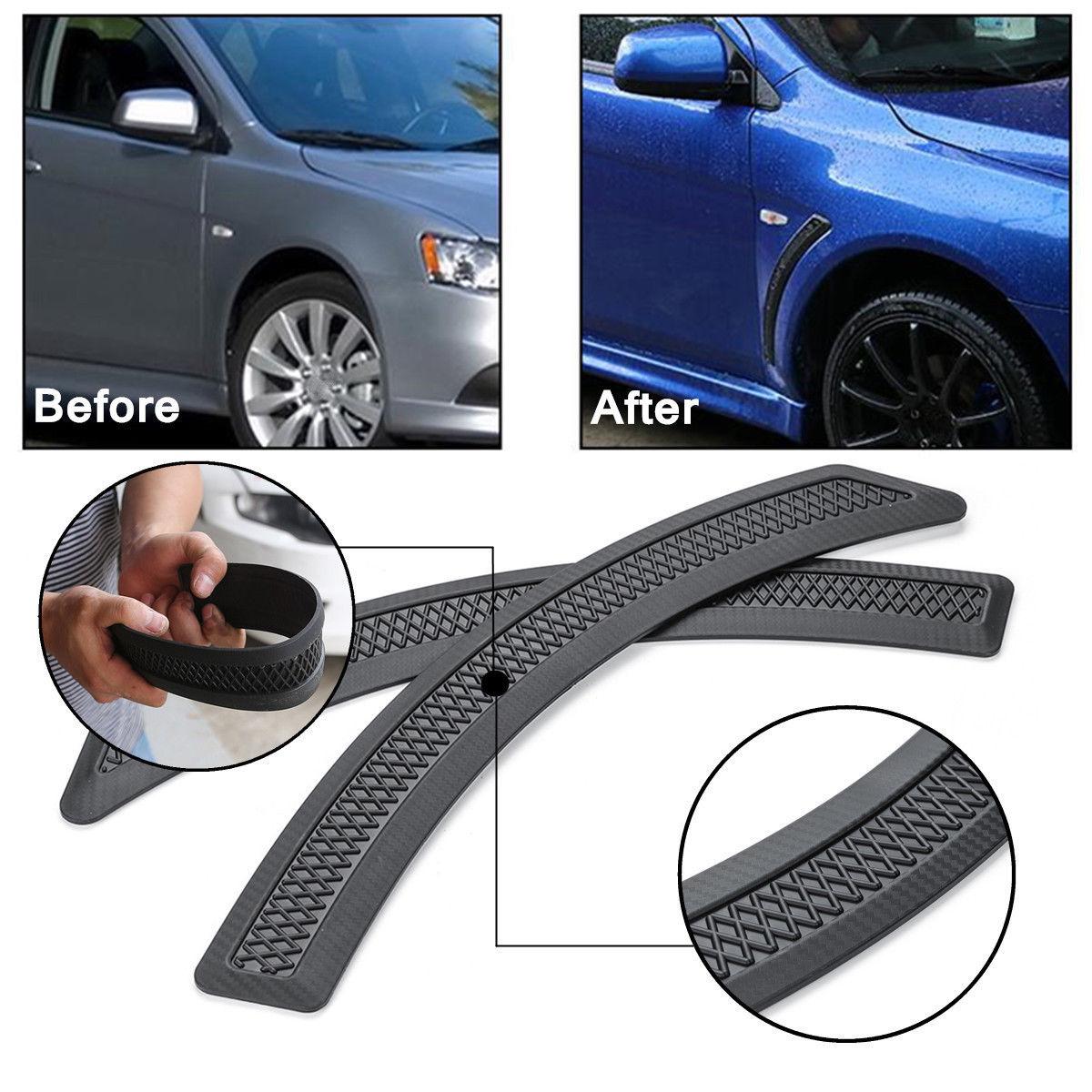 1 Pair Front Side Fender Vent Carbon Fiber Look for Mitsubishi Lancer 2008-2015