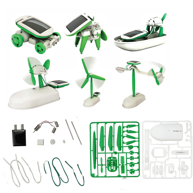 f46670a0d51 Details about 6 in 1 Creative DIY Educational Learning Power Solar Robot  Kit Children Toy New