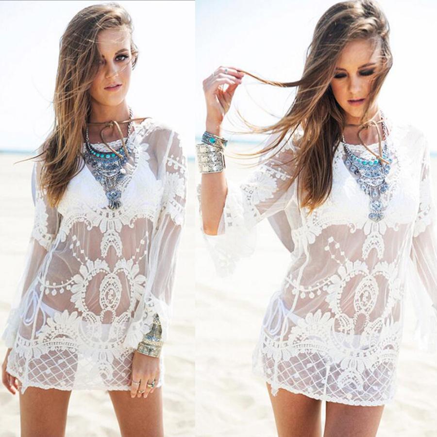 5dd3268e81 Details about White Lace Crochet Beach Dress Cover Up Bikini Summer Kaftan  Sarong Ladies Women