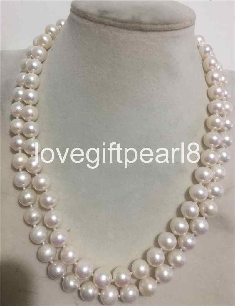 Real Natural 9-10MM Unround Lavender Freshwater Cultured Pearl Necklace 18/'/' AA