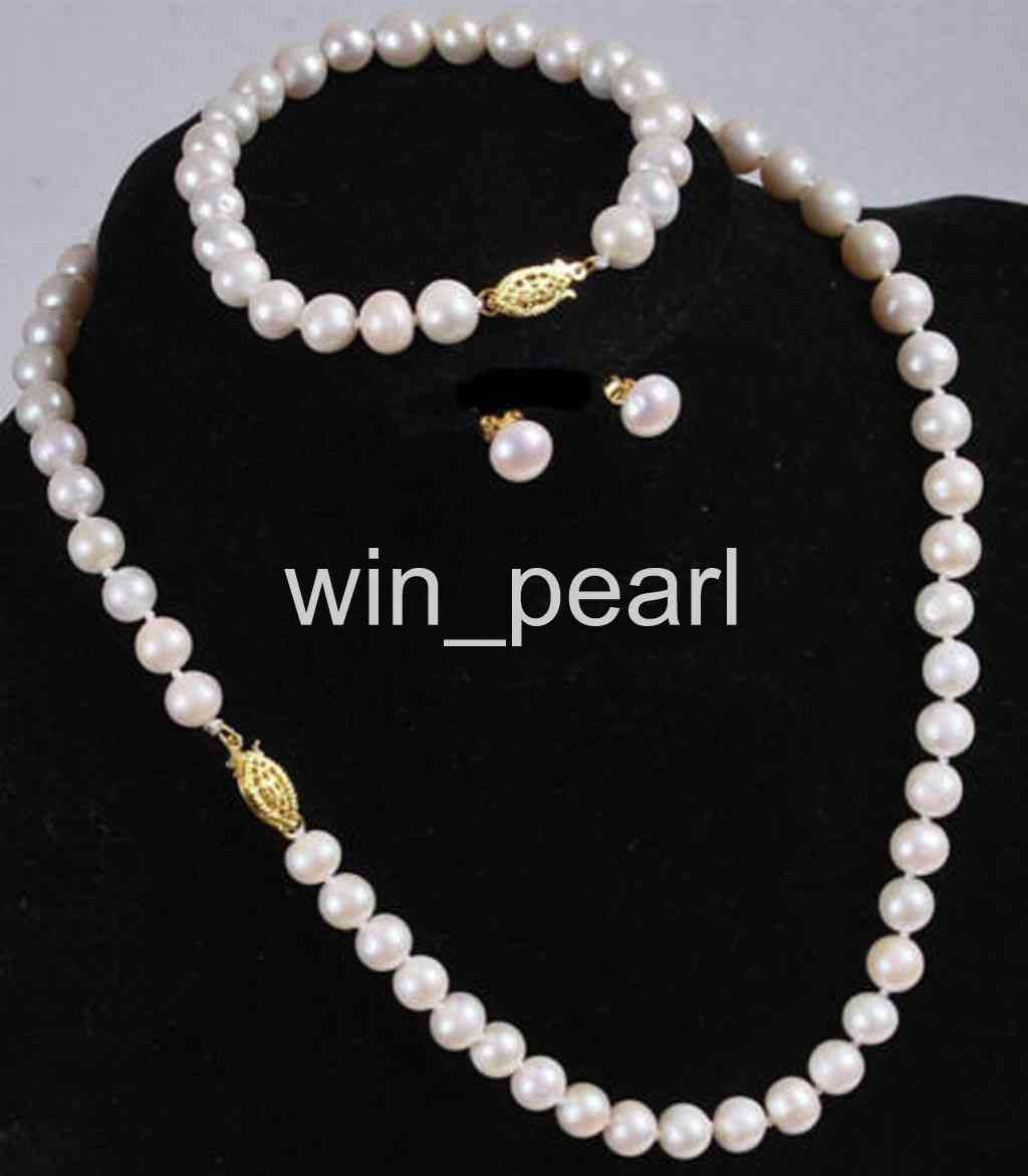 """Natural 7-8MM White Akoya Cultured Pearl Necklace Bracelet Earring Set 18/"""""""