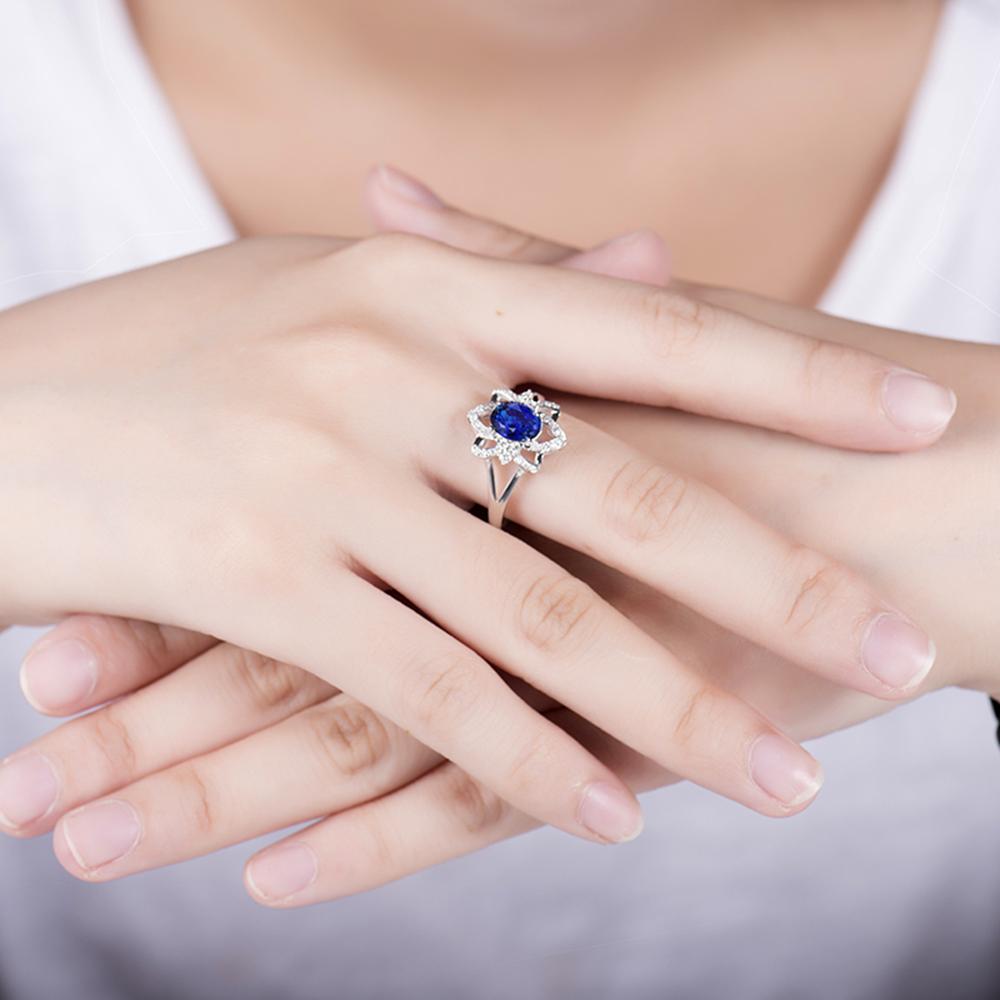 Gemstone Jewelry Solid 14kt White Gold Diamond Oval 5x7mm Blue ...