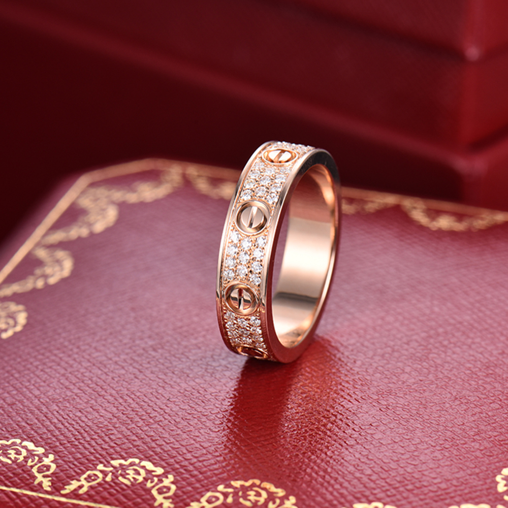 CARTIER Love Ring AU750/18K Rose Gold Pave Diamond Wedding Band Ring ...