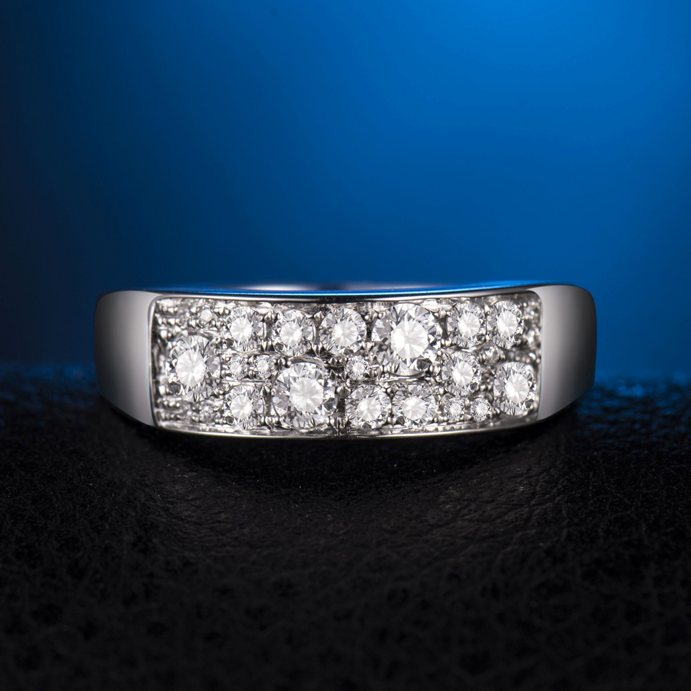 18k White Gold 0 70ct Full Cut Diamonds Engagement Wedding Band
