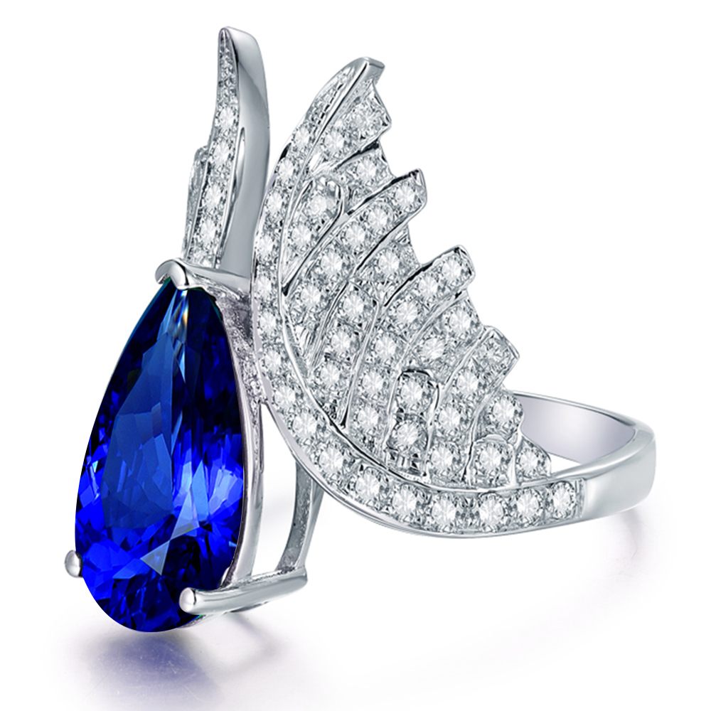 ring tanzanite diamond cocktail and white jewelry fine gold enlarged realreal real products the rings
