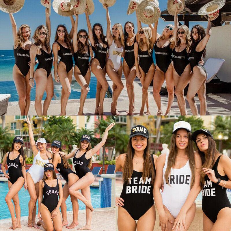 White//Gold Bride Black//White Squad Swimsuit Swimming Costume Hen Party Wedding