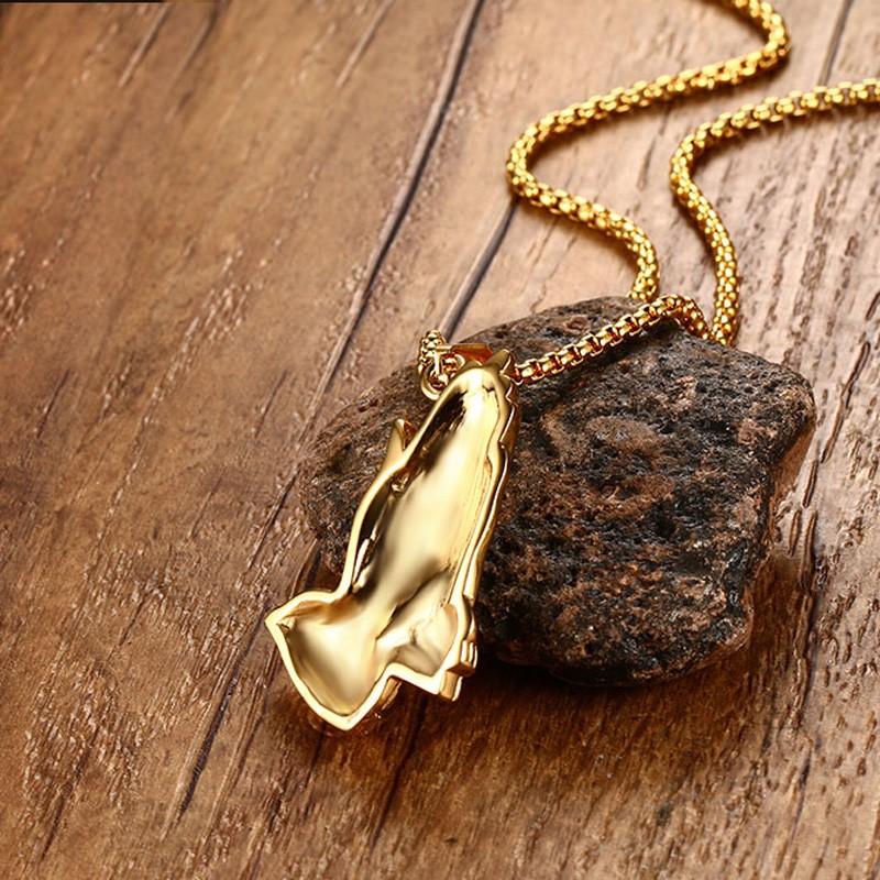 Gold Plate Peace Prayer Praying Hand Palm Pendant Necklace Religous Jewlery Gift
