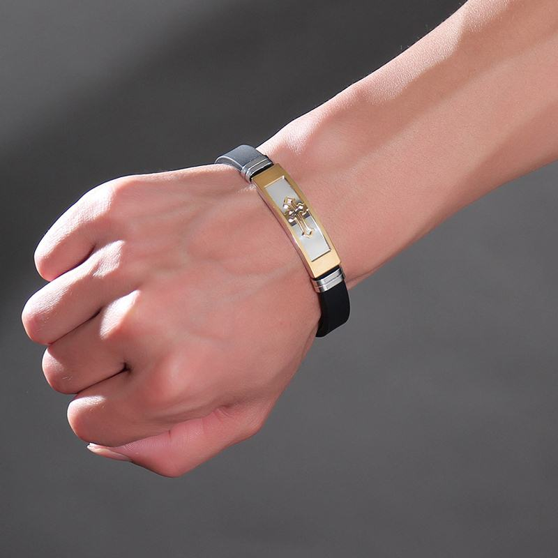 Black Men Bracelet Gold Christ Cross Armband Silicone Wristband Religious Rock