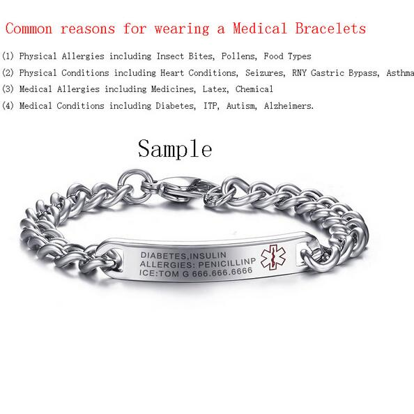 Men S Stainless Steel Medical Alert Id Name Bracelet Chain Bangle Free Engraving