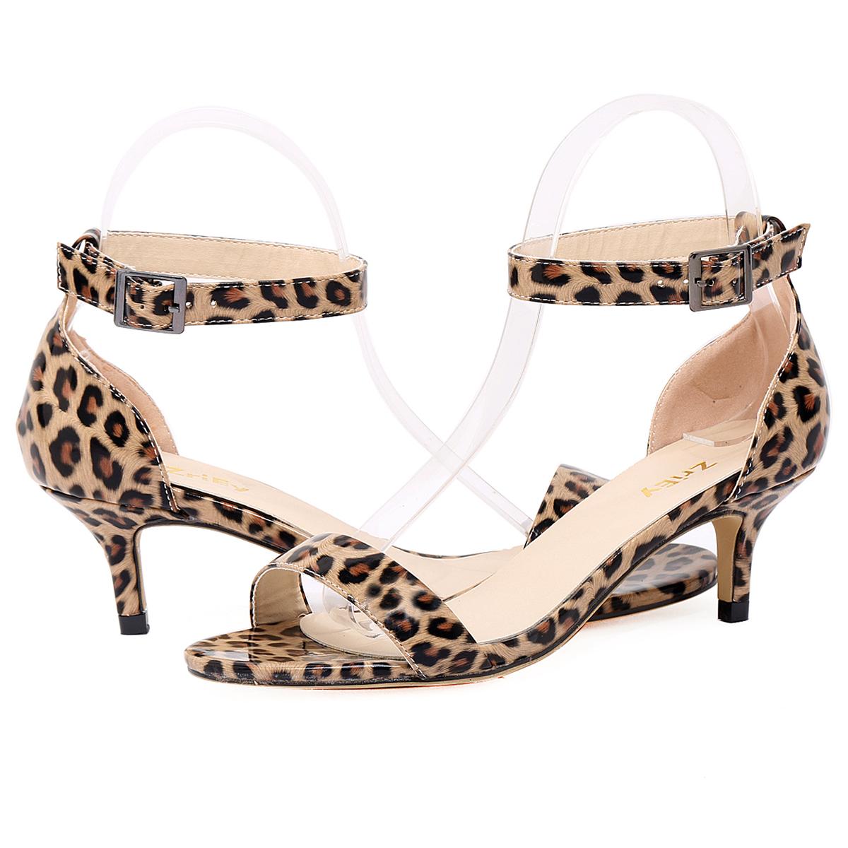 Women s Sexy Leopard Patent Leather Sandals Ankle Strap Peep Toe Low Heel  Shoes 5eccf97cda