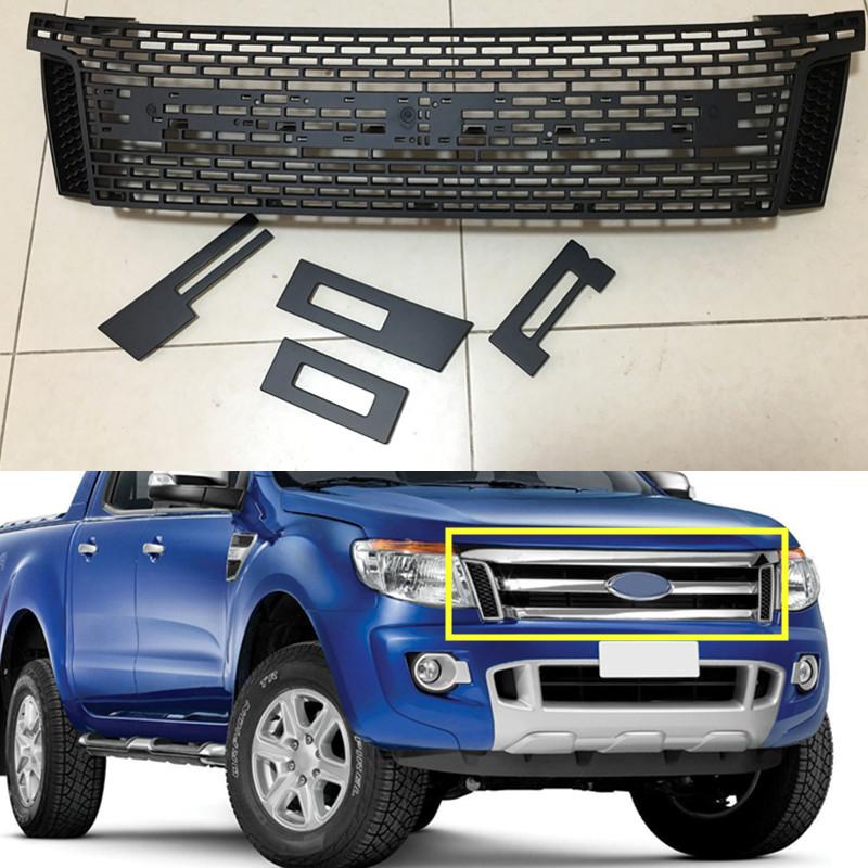 front matte black grille grill ford raptor for ford ranger. Black Bedroom Furniture Sets. Home Design Ideas