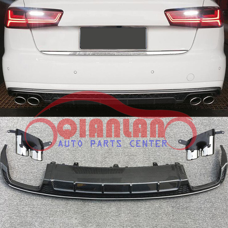RS6 Style Rear Glossy Black Diffuser With Exhaust Pipes For Audi A6 C7 2012~2015