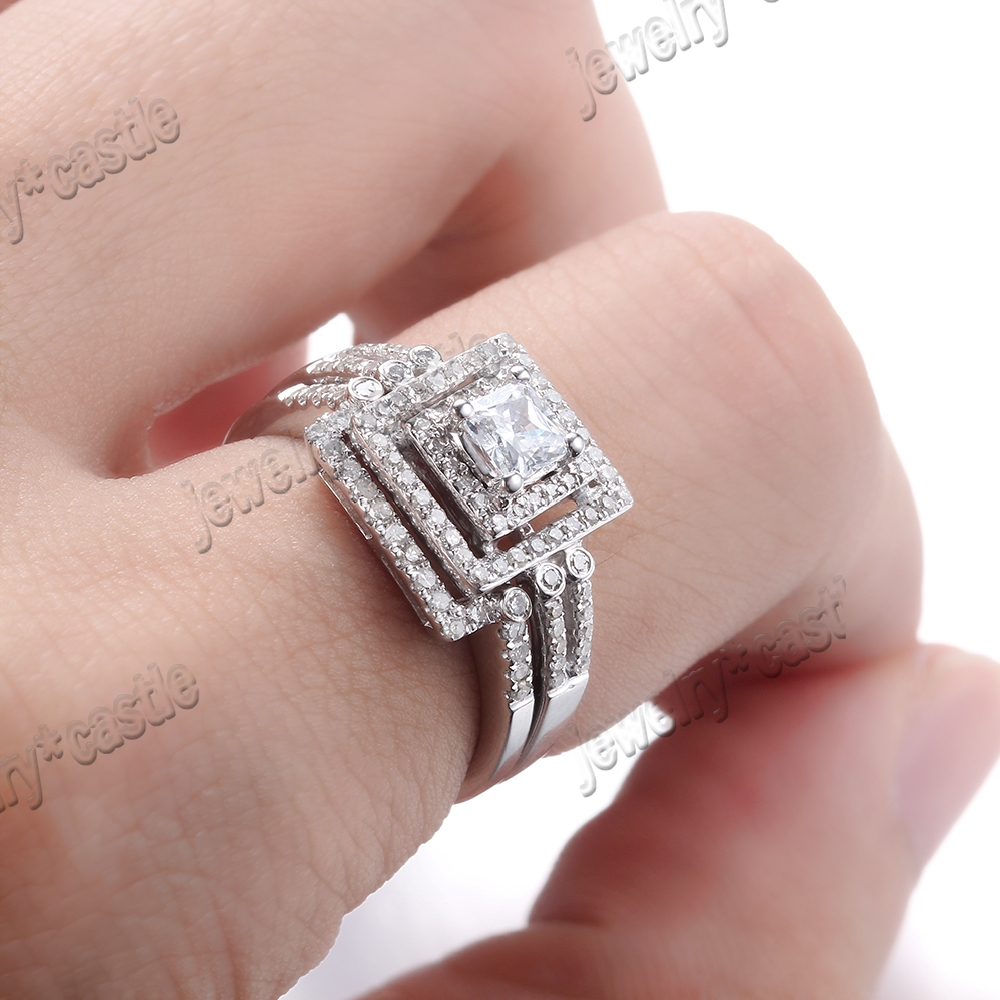 SOLID 10K WHITE GOLD CUSHION CUT CUBIC ZIRCONIA ENGAGEMENT WEDDING ...