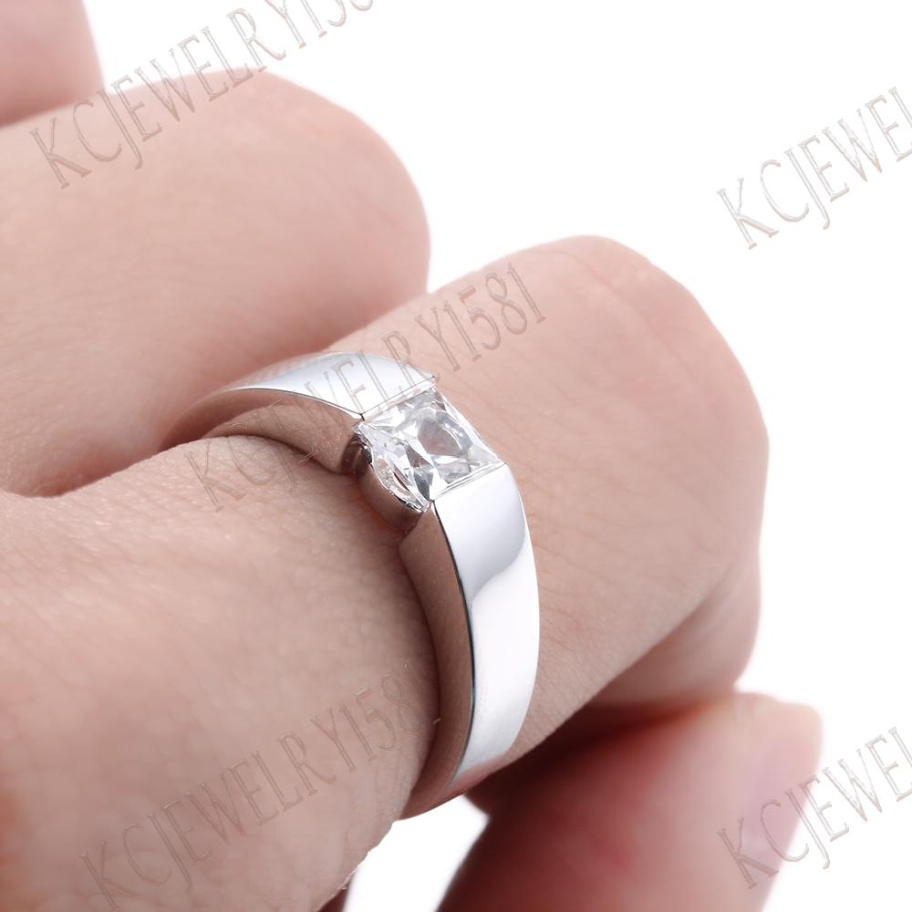 White Topaz Solid 14K White Gold Gemstone Jewelry Wedding Ring ...
