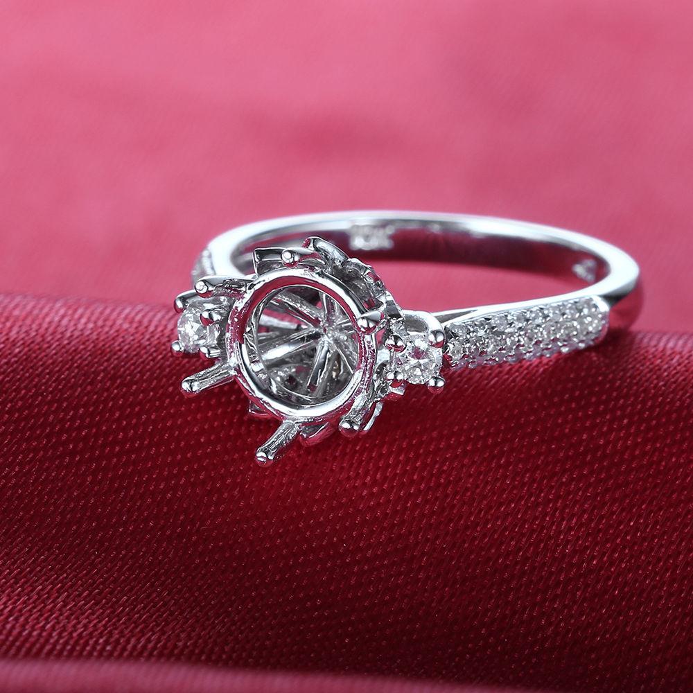 Flower 8-9mm Round Cut 10k White Gold.3ct Diamonds Engagement Semi ...