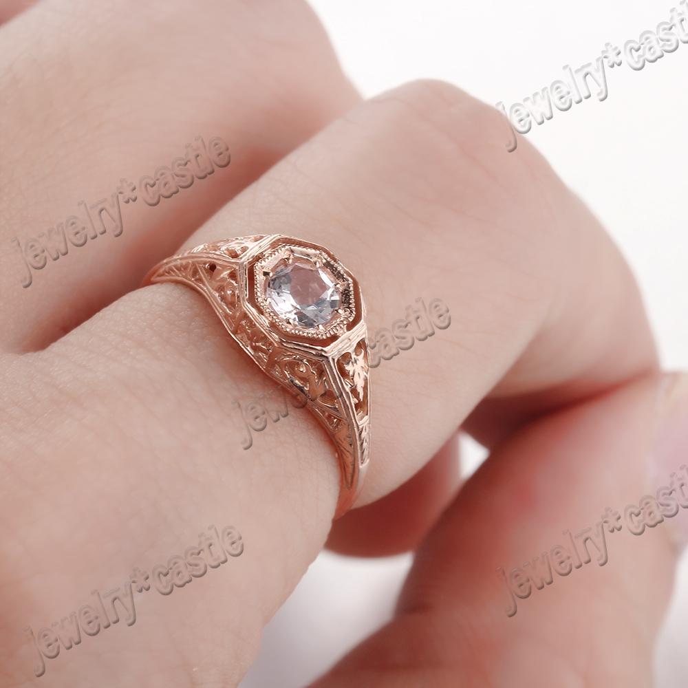 Vintage Antique Style 14K Rose Gold Round Cut Pave Morganite Wedding ...