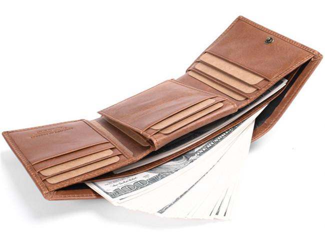 Vintage Mens Rfid Genuine Leather Tifold Purse Clutch Card Id Holder Wallet Ebay