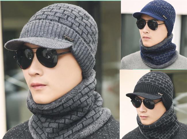2Pcs Men Women Winter Warm Knit Hat Ski Visor Fleece Outdoor Beanie Brim Cap New