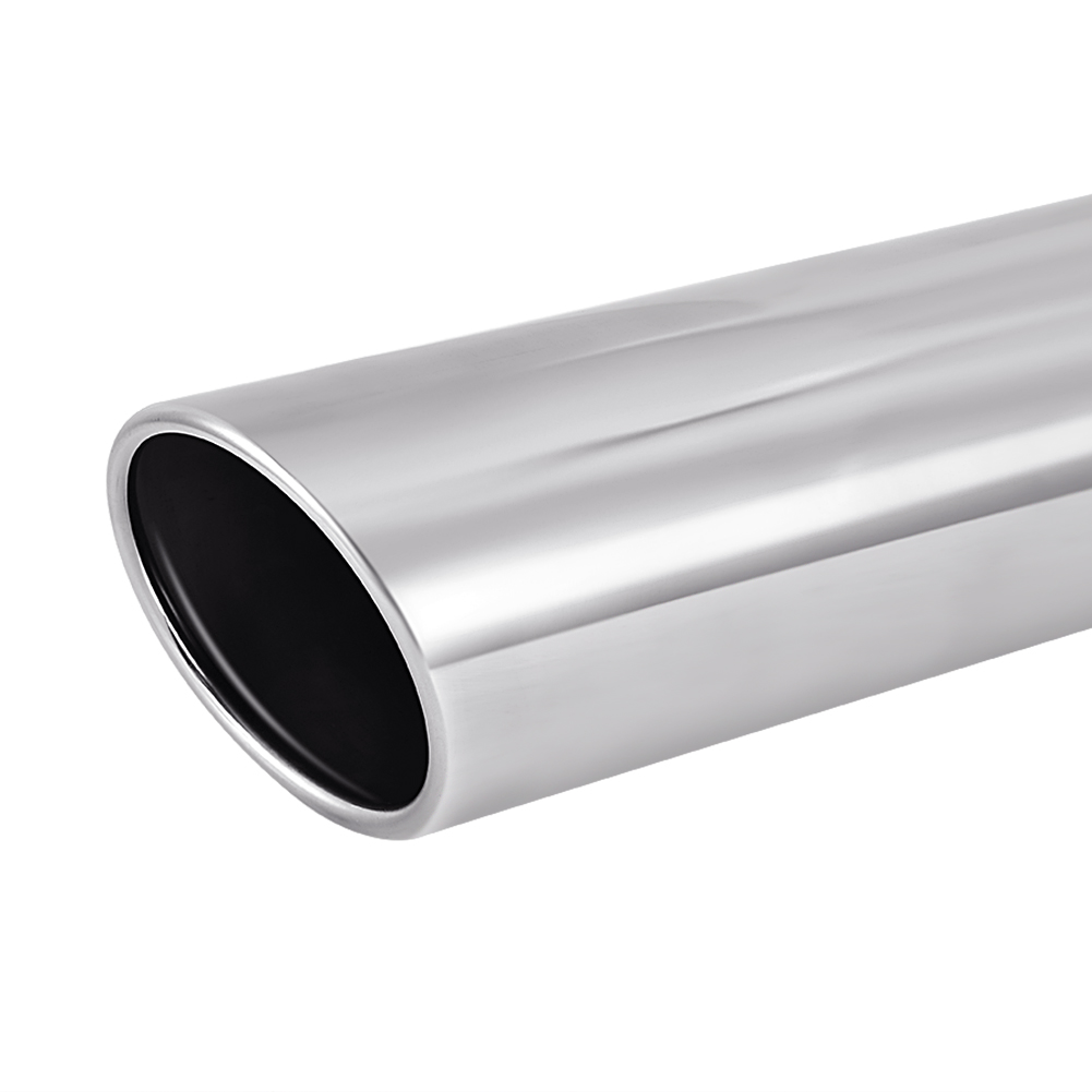 """2x Black Stainless Roll Edge Weld On Exhaust Tip 2.5/""""Inlet 3.5/""""Outlet 18/""""Long"""