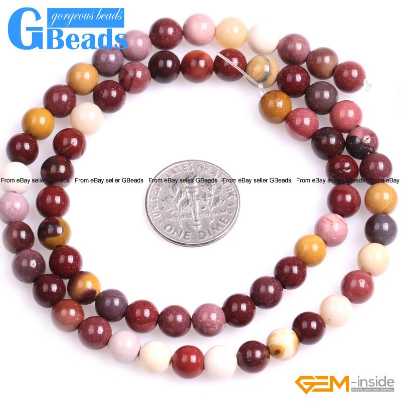 Natural mookaite jasper gemstone round beads for jewelry for Birthstone beads for jewelry making