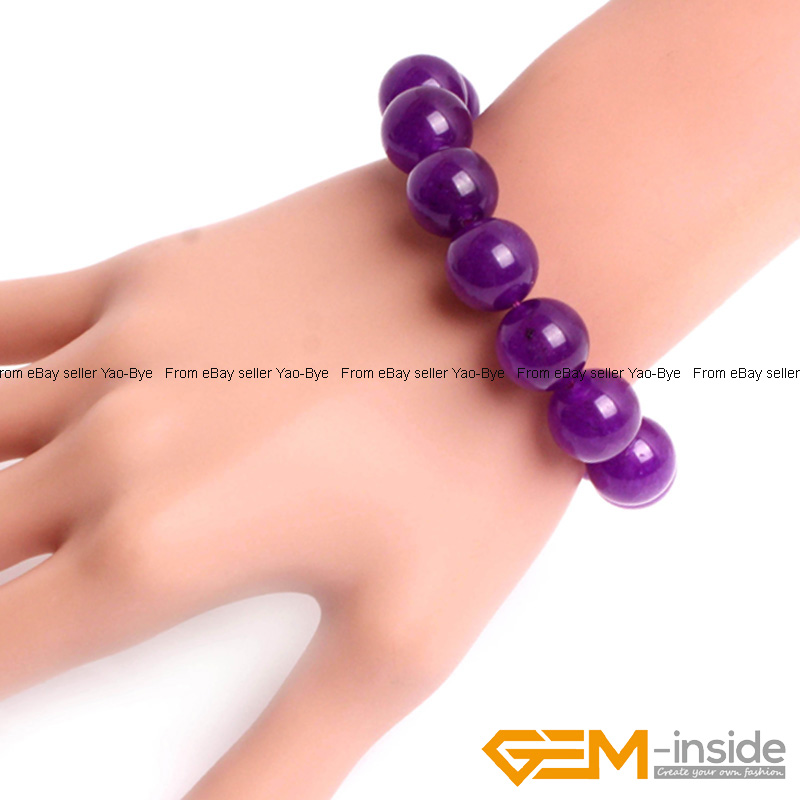 Wholesale-Lot-Handmade-Fashion-Jewelry-Assorted-Colors-Beaded-Jade-Bracelet-7-5-034 thumbnail 45
