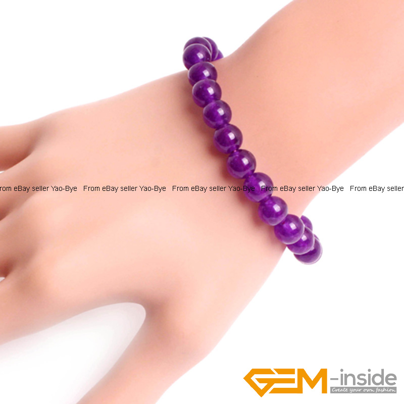 Wholesale-Lot-Handmade-Fashion-Jewelry-Assorted-Colors-Beaded-Jade-Bracelet-7-5-034 thumbnail 39