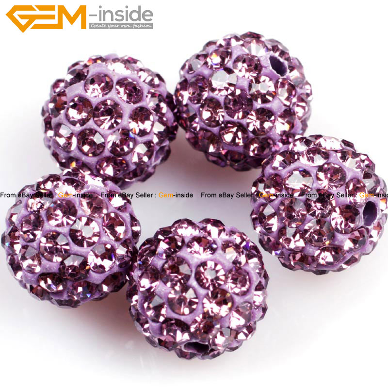 10mm Round CZ Crystal Rhinestones Pave Clay Disco Ball 10 Pcs Colors Pick 93fac5797249