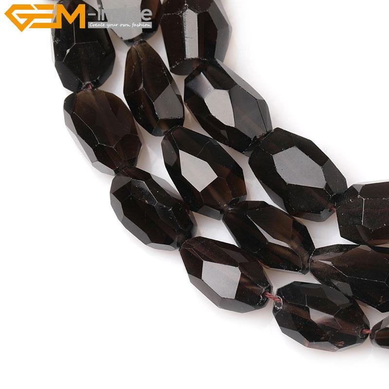 quartz stone necklace 7mm-8mm smoky quartz loose gemstone AAA smoky quartz faceted rondelle beads