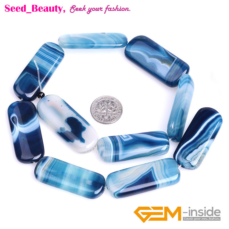 """16x38mm Arc Rectangle Gemstone Blue Banded Agate Beads Strand 15/"""""""